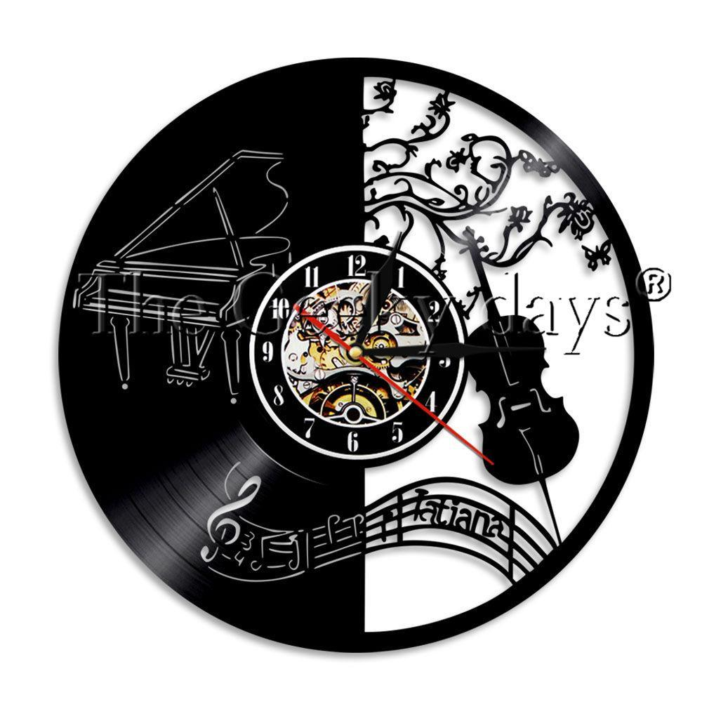 Piano and Violin Vinyl Wall Clock