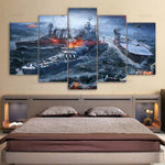5-piece World Of Warships Gaming printed Canvas Wall Art