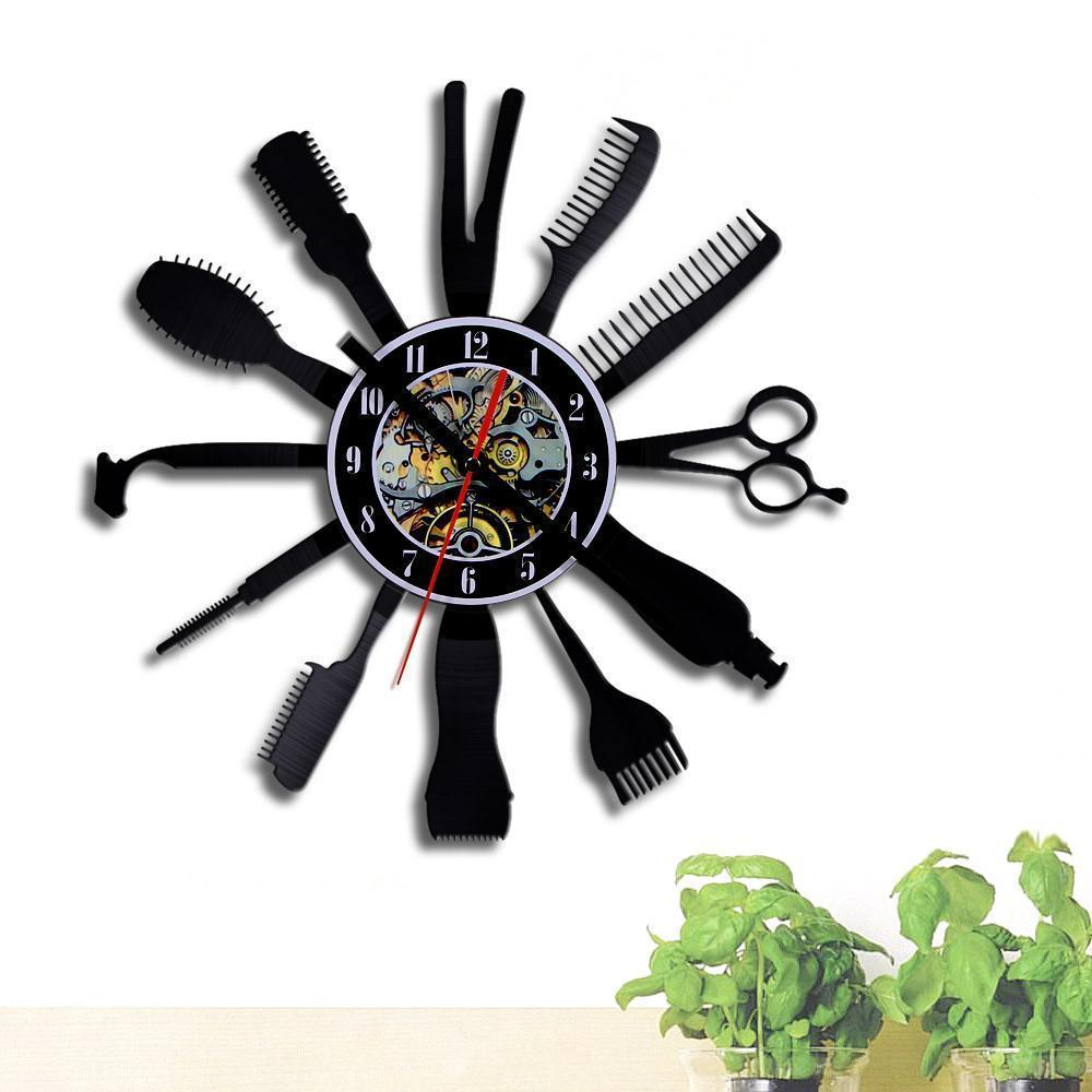 Barber Hair Beauty Salon Vinyl Record Wall Clock