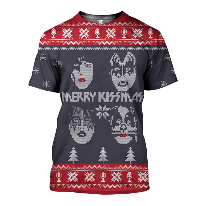3D All Over Printed Kissmas Ugly Christmas Shirts and Shorts - gopowear.com