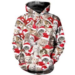 3D All Over Printed Cats Merry Christmas Shirts and Shorts