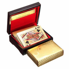24K Carat Gold Plated Poker Card With Wooden Box And Certificate