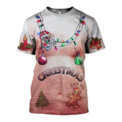 3D Hairy chest and Tattoos White Ugly Christmas Shirts