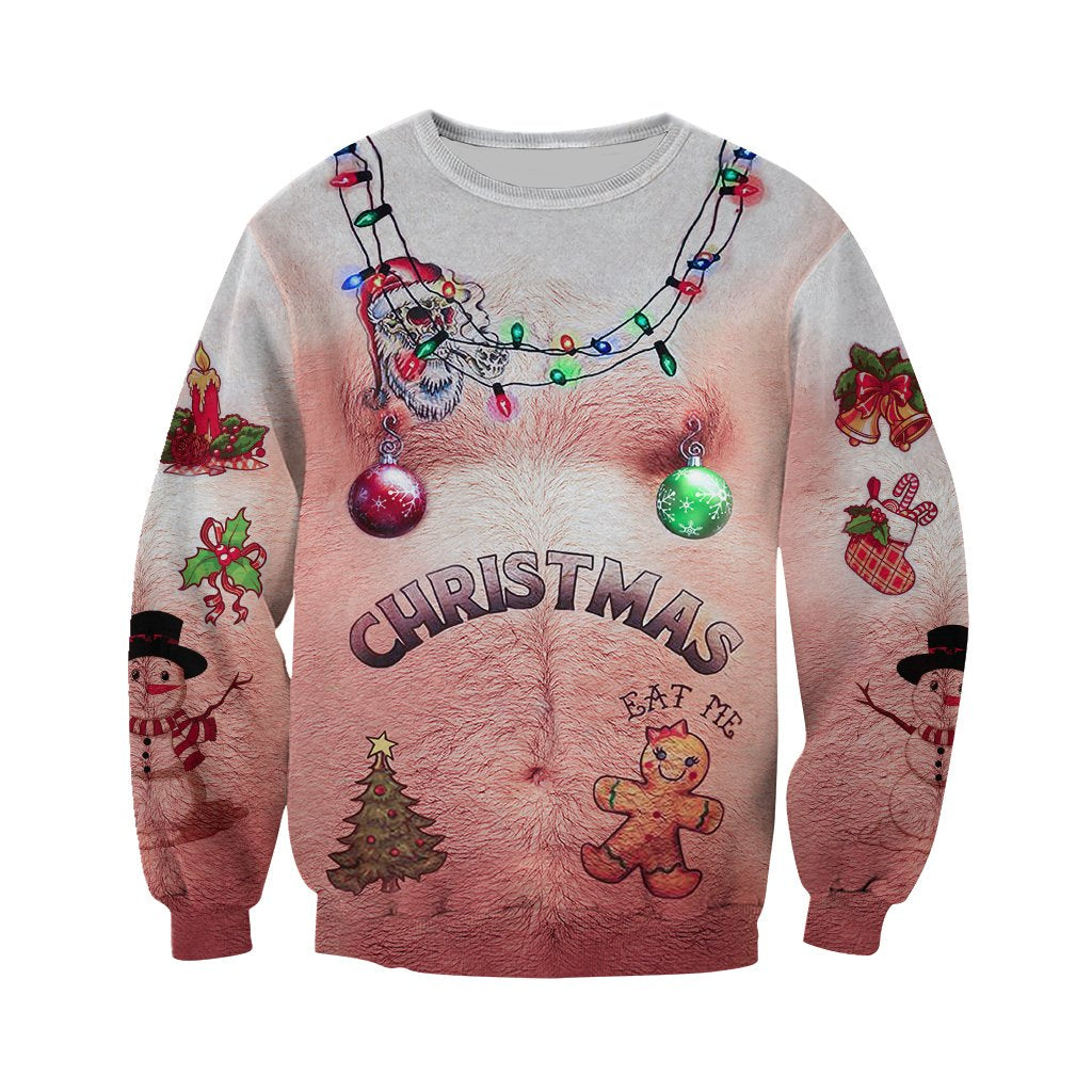 3d Hairy Chest And Tattoos White Ugly Christmas Shirts Gopowearcom