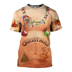3D All Over Printed Hairy Chest and Tattoos Ugly Christmas Sweater Shirts and Shorts