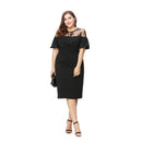 Plus Size Basic Streetwear Sexy Lace Patchwork Slim Dress 3-6XL - gopowear.com