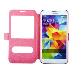 Leather Dual View Window Stand Flip Case For Samsung