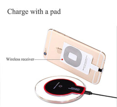 New Crystal Wireless Charger Charging Pad + Receiver + Clear Case Cover for iPhone 5/5s SE/6/6s/7