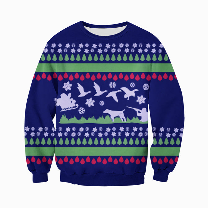 f9febe40e58b 3D All Over Printed Ugly Sweater Hunting Duck Shirts and Shorts ...
