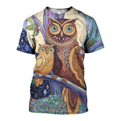 3D All Over Printed Coloring Owls  Shirts and Shorts