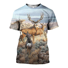 3D All Over Printed Deer Ar Shirts and Shorts