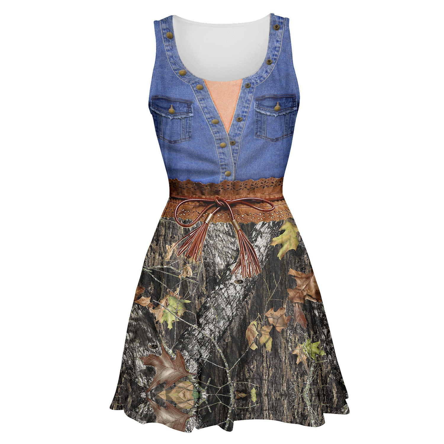 3D All Over Printed Skater Dress - Jean Mix Camo of Country Girl