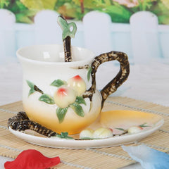 Peach Coffee Cup With Saucer And Spoon - gopowear.com