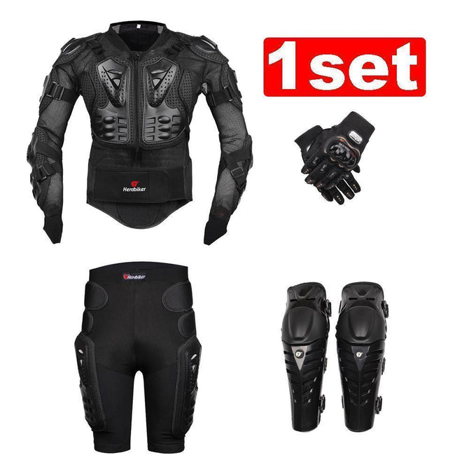 Motor Body Armor Protective Jacket+ Gears Short Pants+Knee Pad+gloves - gopowear.com