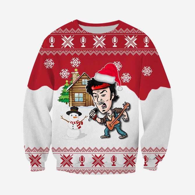 Bruce Springsteen Christmas.3d All Over Printed Christmas Ugly Sweater Bruce Springsteen Shirts And Shorts