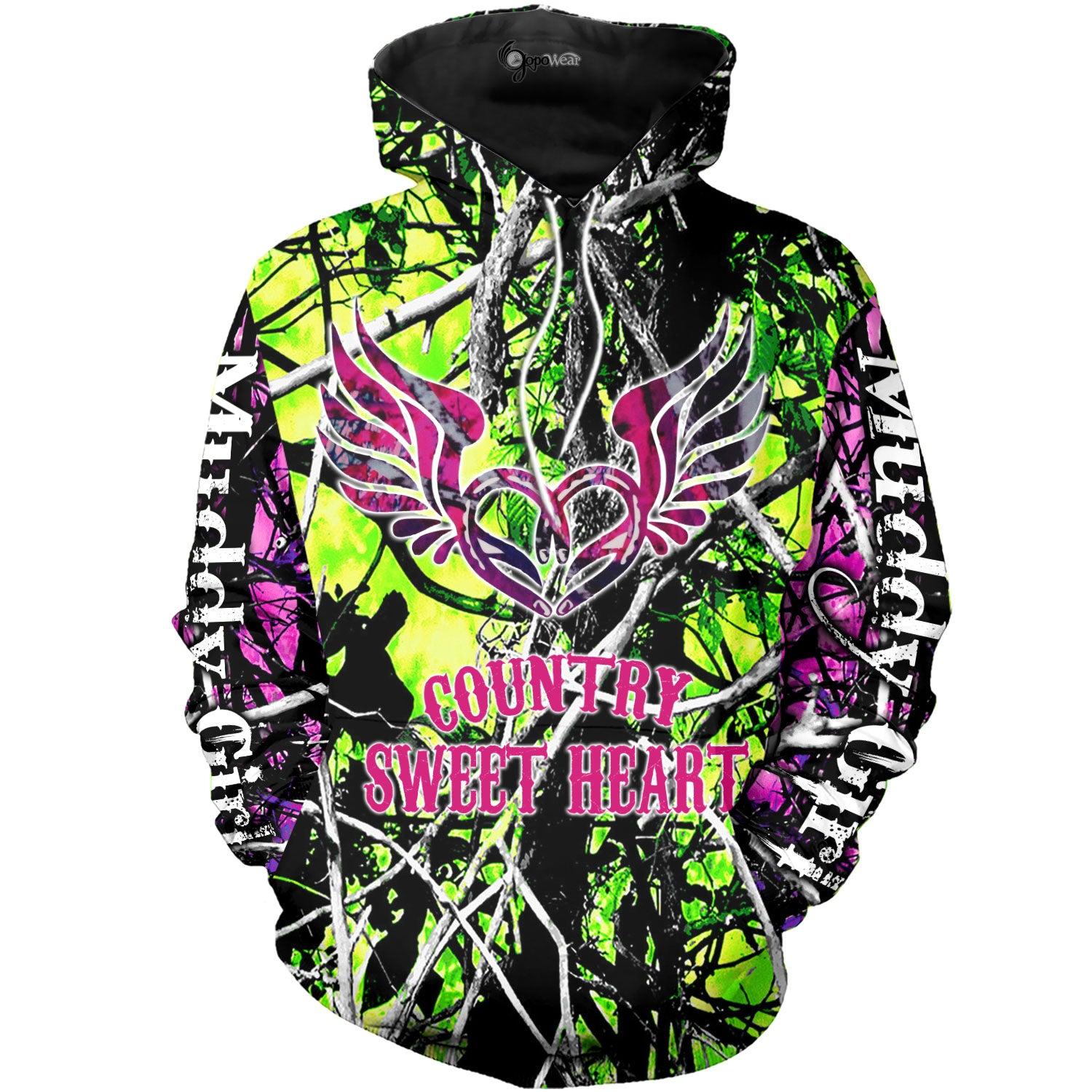 Country Sweetheart Green And Pink Camo 3D All Over Printed Shirts For Men & Women