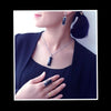 Faceted Square Shape Black Resin Fashion Jewelry Sets J1033 - gopowear.com