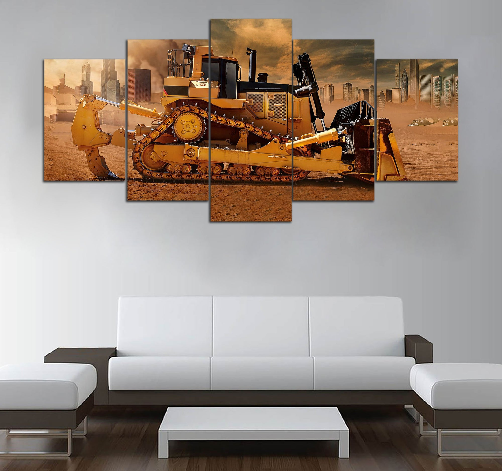 5-piece Cat Bulldoze Printed Canvas Wall Art