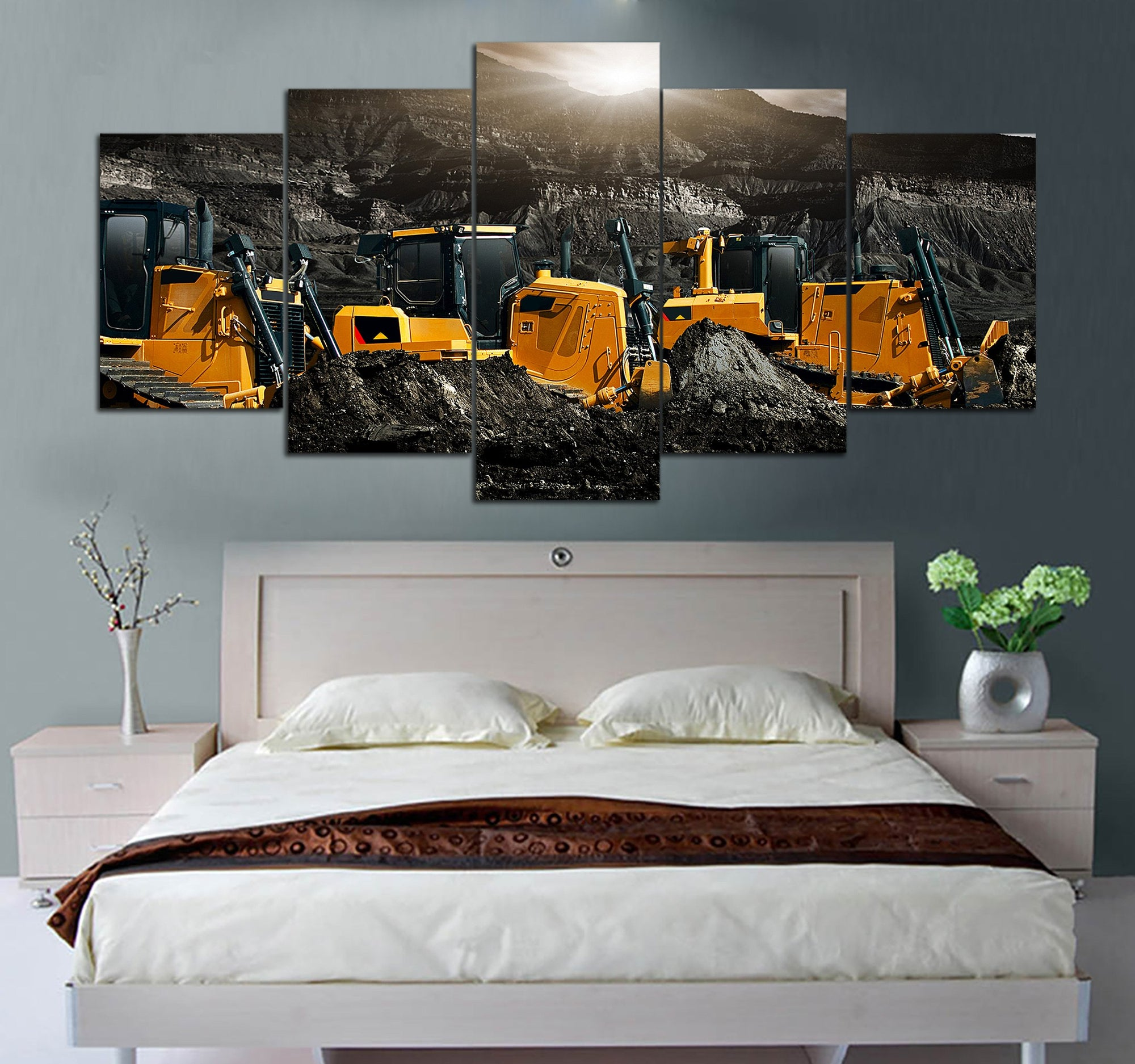 5-piece Caterpillar Heavy Equipment Printed Canvas Wall Art