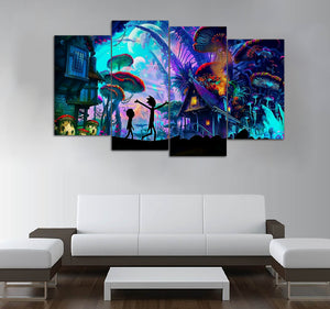 4 piece wall art sunset 4piece rick and morty art printed canvas wall tagged
