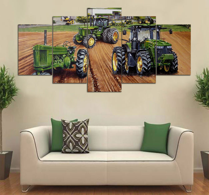 5-piece Tractor Printed Canvas Wall Art