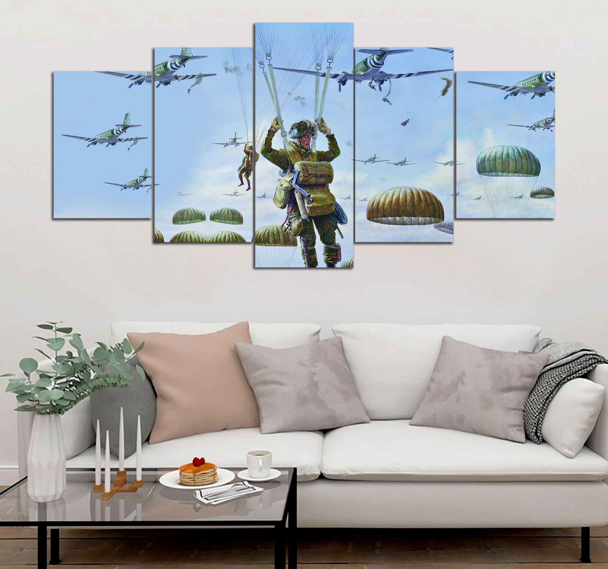5-piece Big Paratrooper On Sky Printed Canvas Wall Art