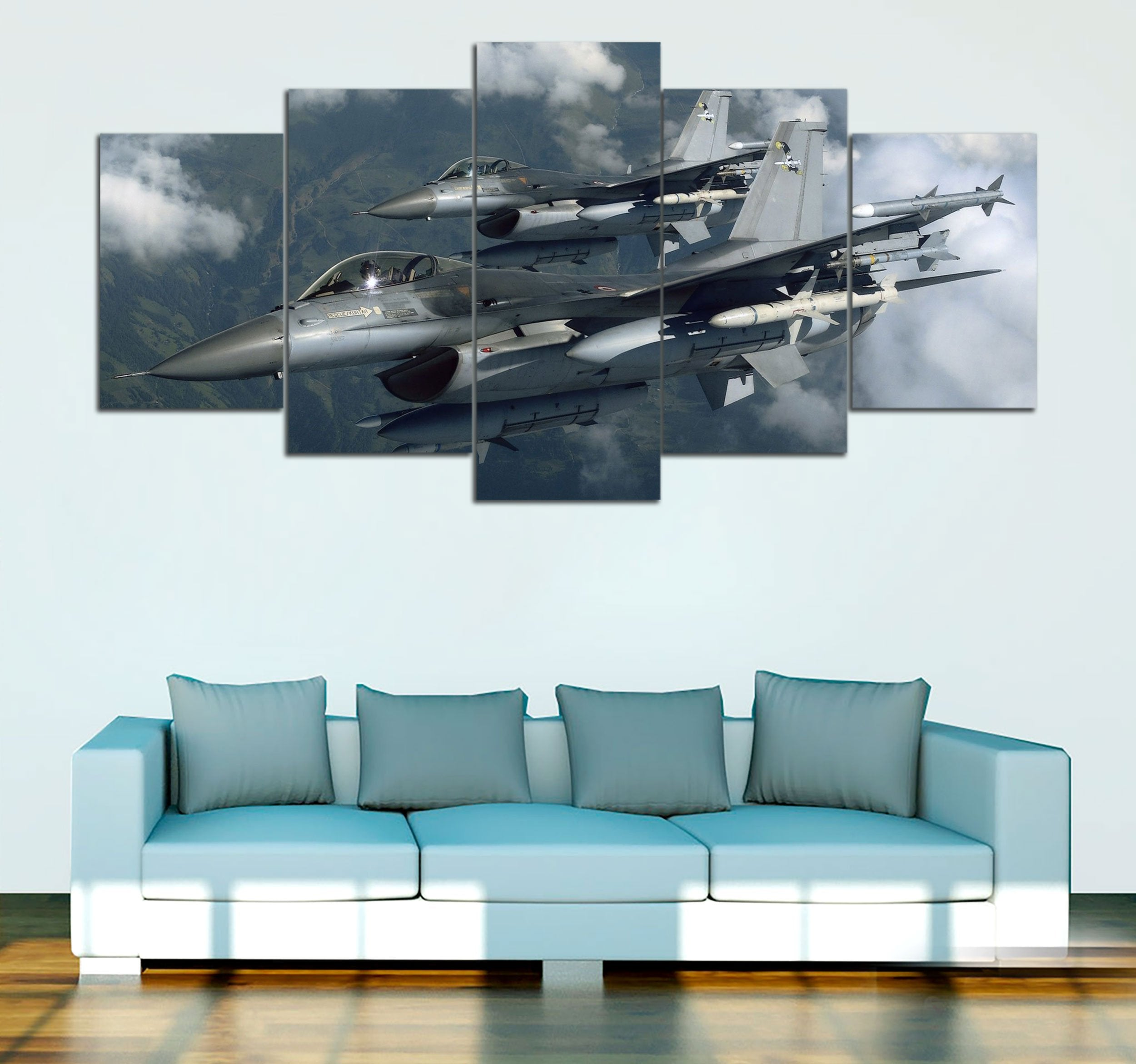 5-piece F-16 Fighting Falcon Printed Canvas Wall Art