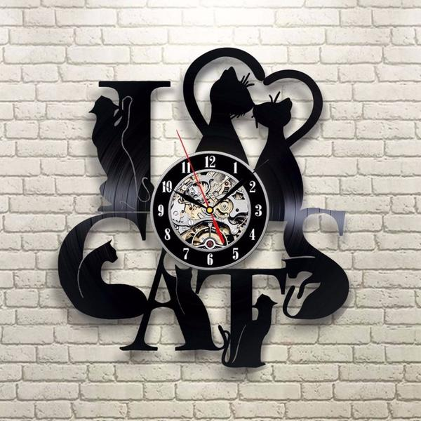 I Love Cats Vinyl Record Wall Clock - gopowear.com