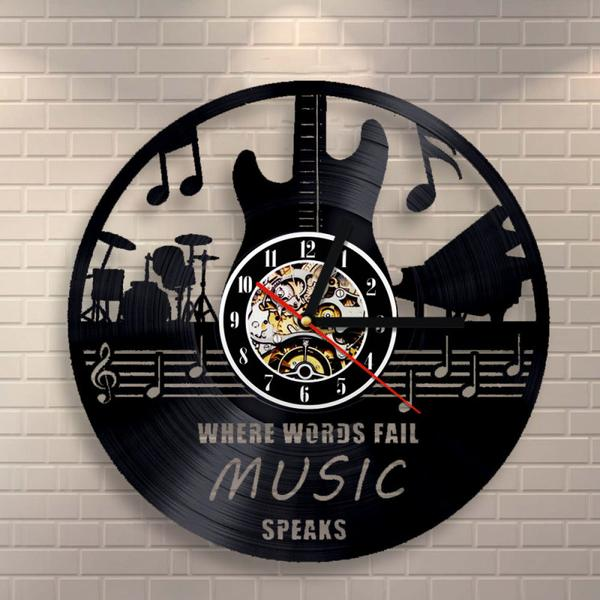 Guitar Drums Band Vinyl Record Wall Clock - gopowear.com