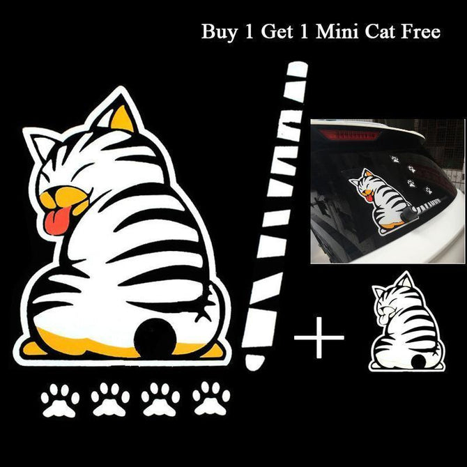 Funny Moving Tail Cat Reflective Car Stickers - gopowear.com