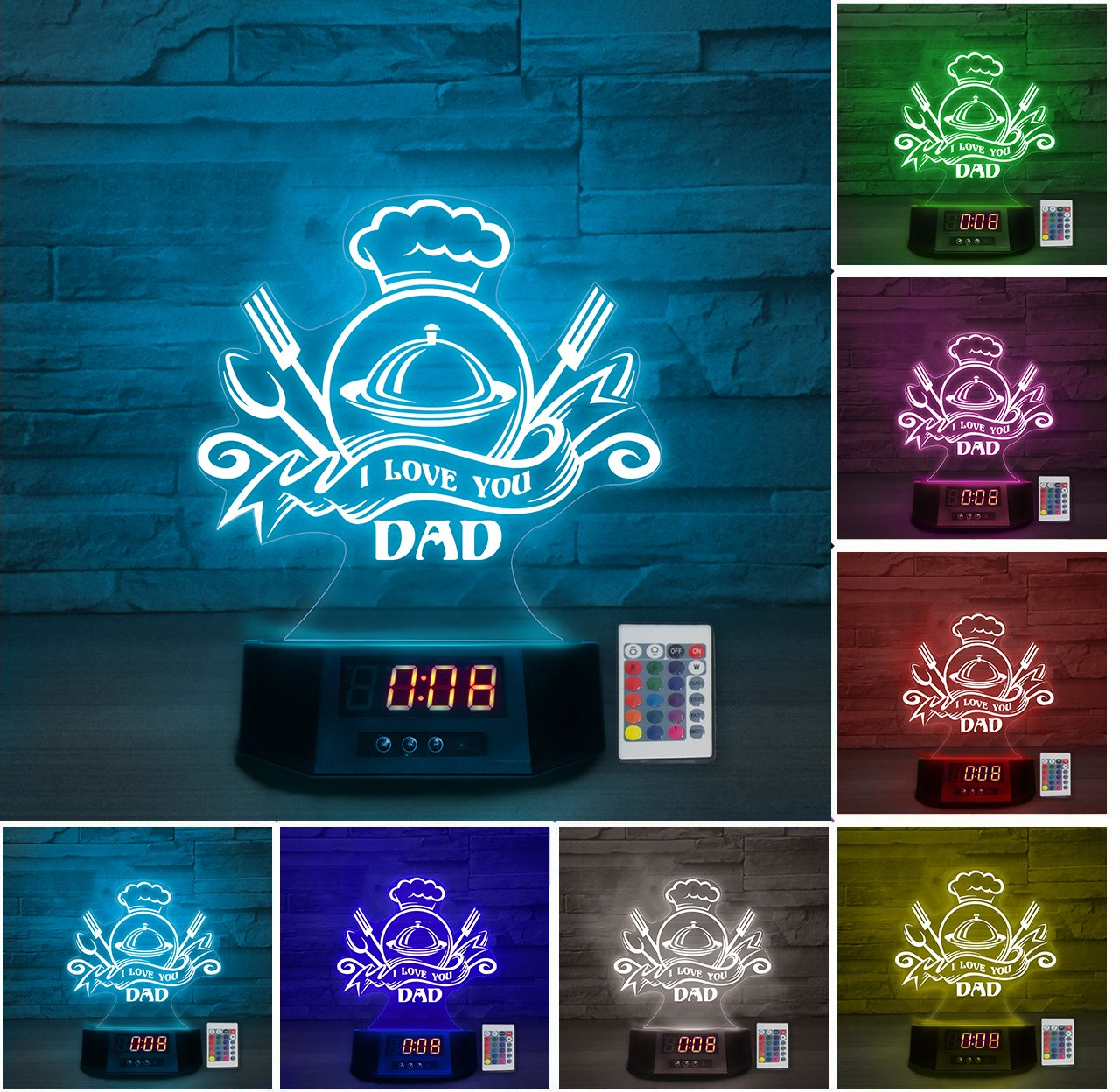 LED Lamp - I love you DAD - Chef ATDK190401b