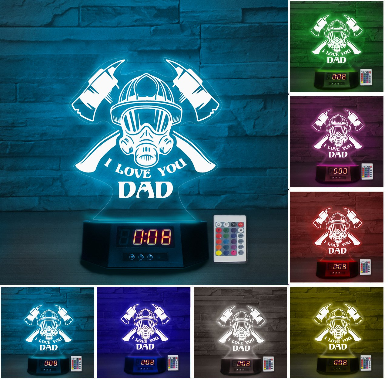 LED Lamp - I love you DAD - Firefighter ATDK190401c