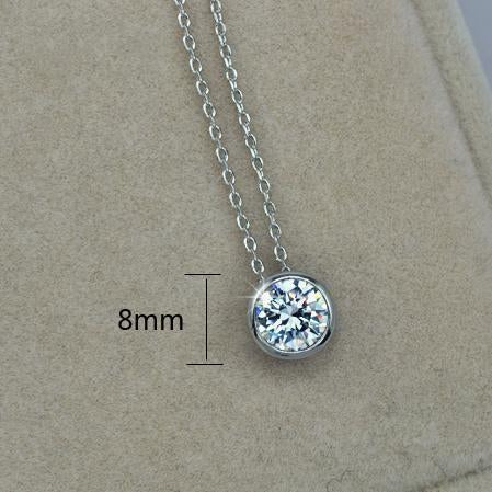 Simply Small Round 1 carat Cubic Zirconia Solitaire Pendant Necklace - gopowear.com