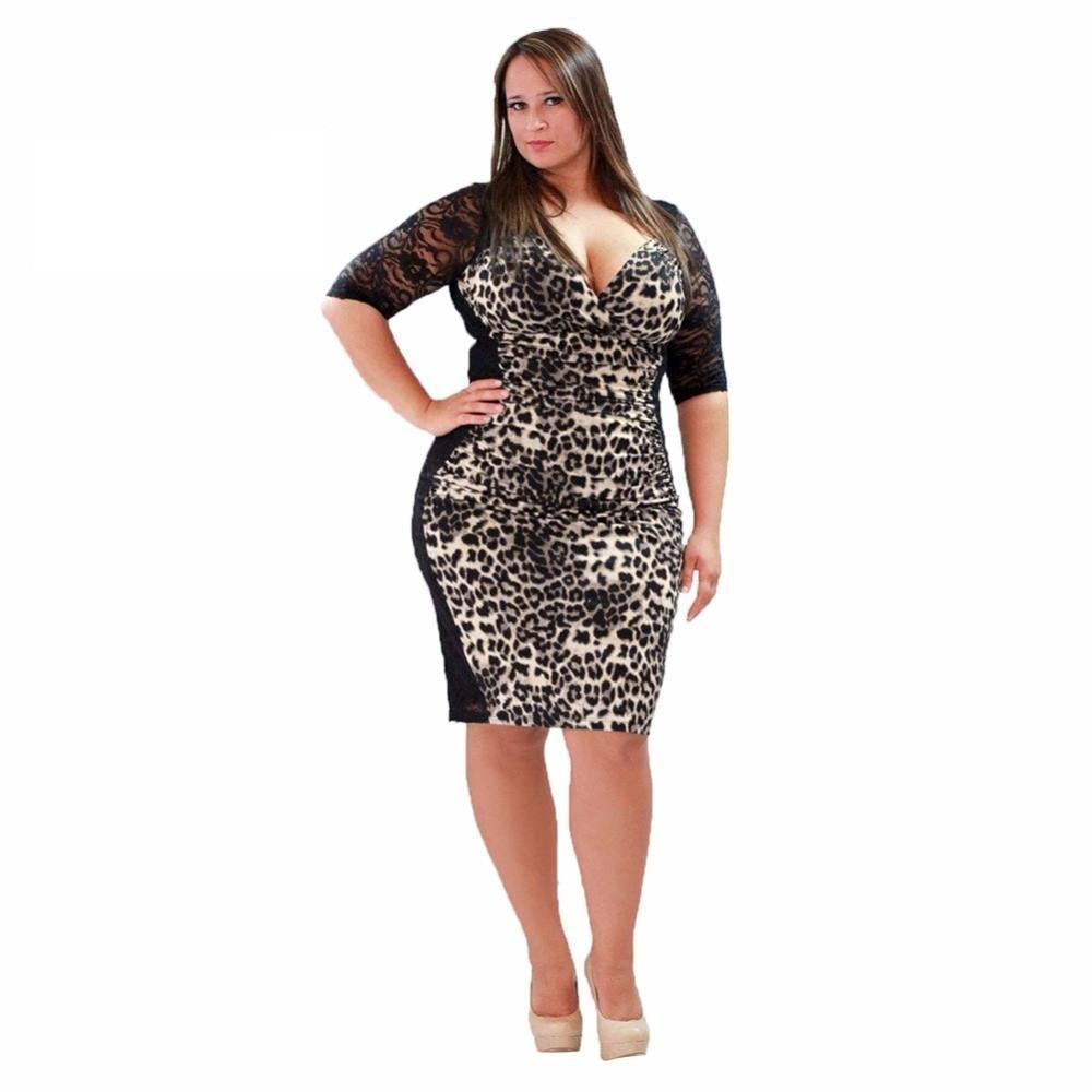 Leopard Bodycon Fashion Plus Size Dress - gopowear.com