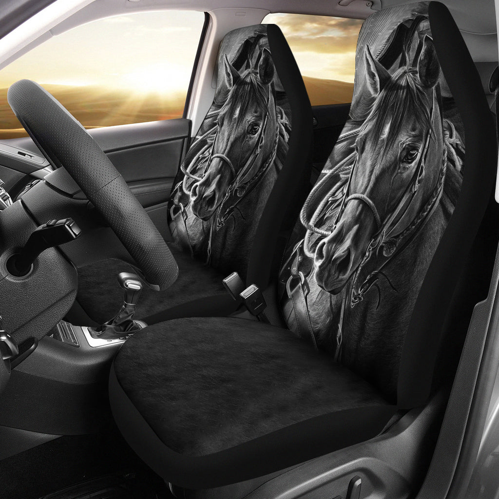 Car Seat Covers - Mono Horse Art