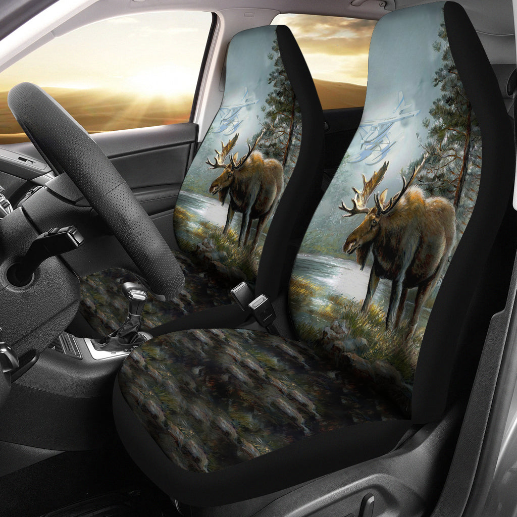 2pcs Car Seat Covers - Moose Hunting