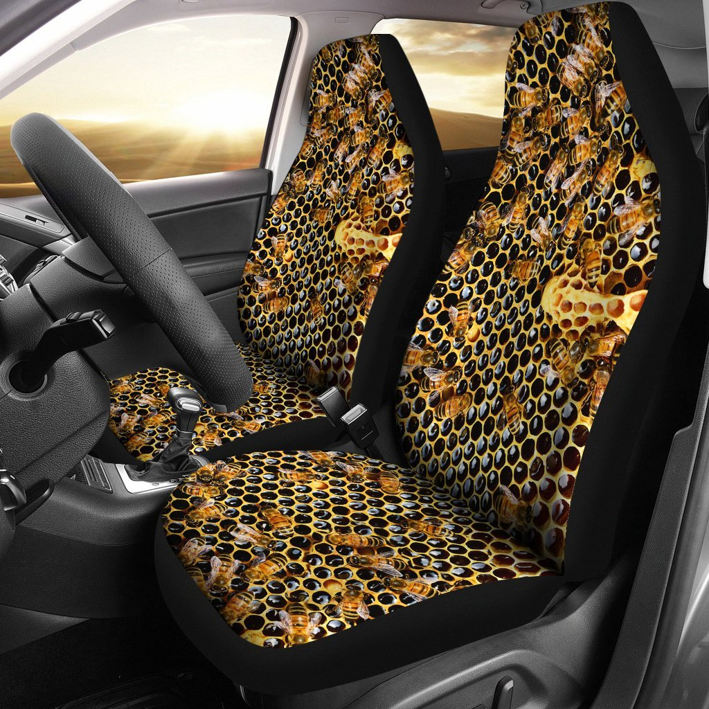 2pcs Bees Car Seat Cover