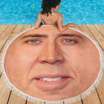 Beach Blanket - The Giant Blown Up Face Of Nicolas Cage - gopowear.com