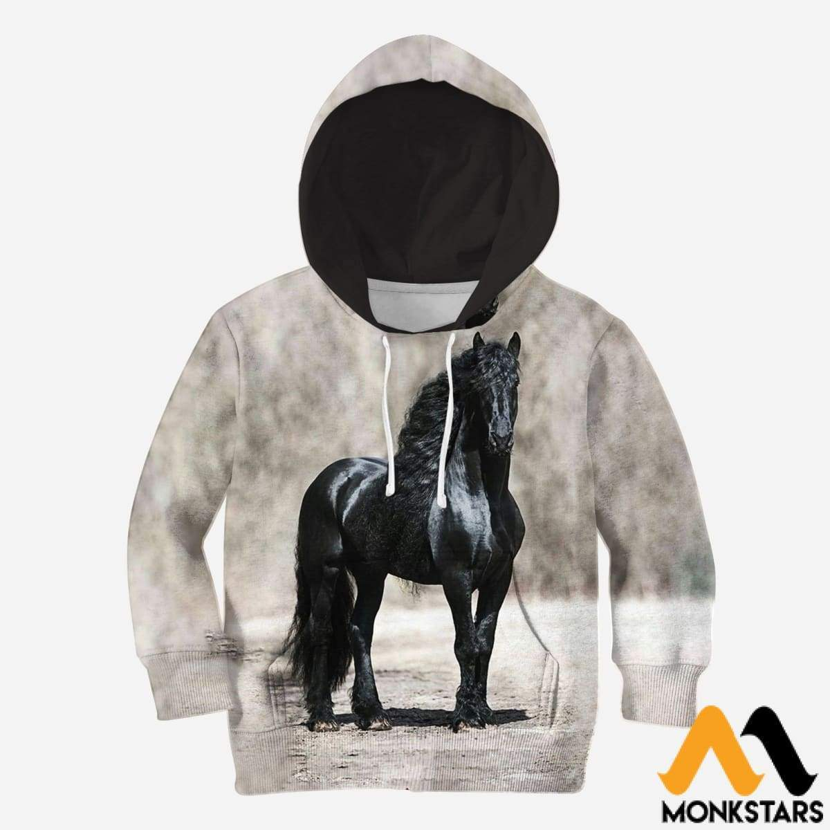 Kid 3D All Over Printed Black Horse Shirts And Shorts Normal Hoodie / Toddler 2T Clothes