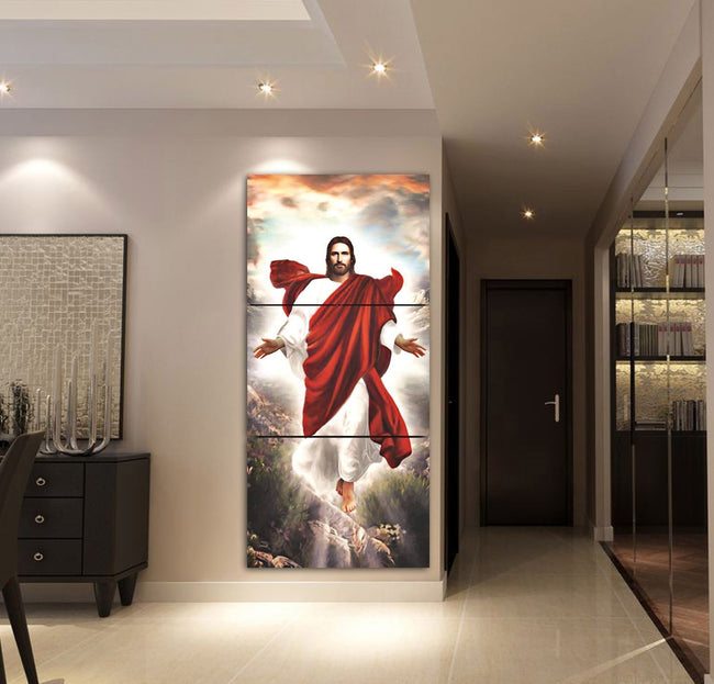 3-piece Jesus God printed Canvas Wall Art