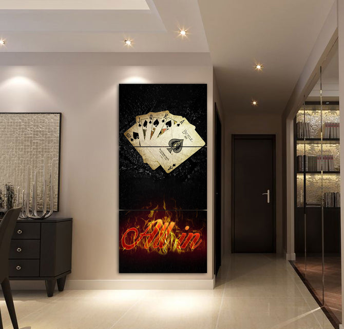 3-piece Poker printed Canvas Wall Art SAUL170415 - gopowear.com