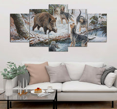 5-pieces Boar printed Canvas Wall Art