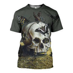 3D printed Skull and butterflies T-shirt Hoodie ADUL160412