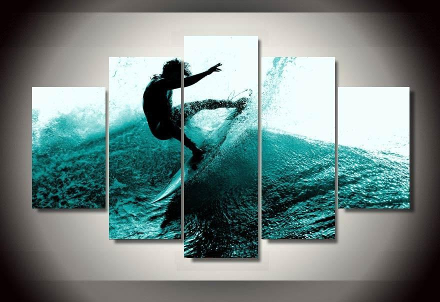 5-piece Blue Wave Surfer printed Canvas Wall Art SM250405