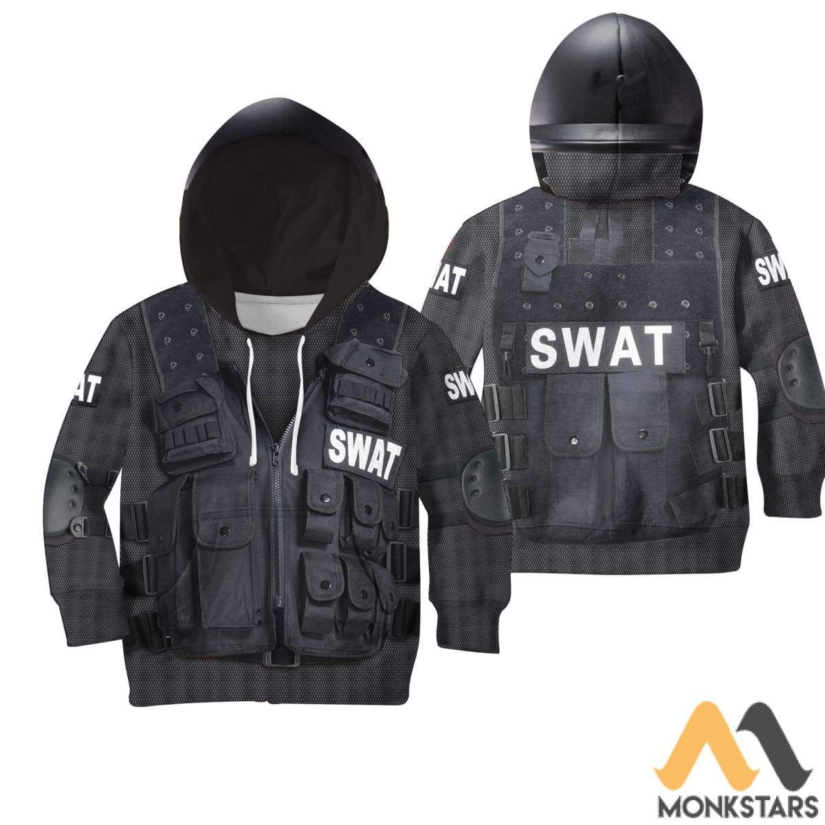 Swat 3D All Over Printed Shirts For Kids Normal Hoodie / Toddler 2T Kid Clothes