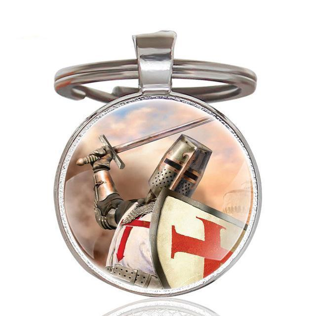 Knights Templar Cross Glass Cabochon Key Chains