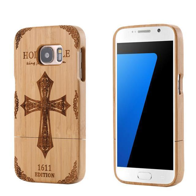 CROSS WOLF Bamboo Wood Carving Case for Samsung - gopowear.com