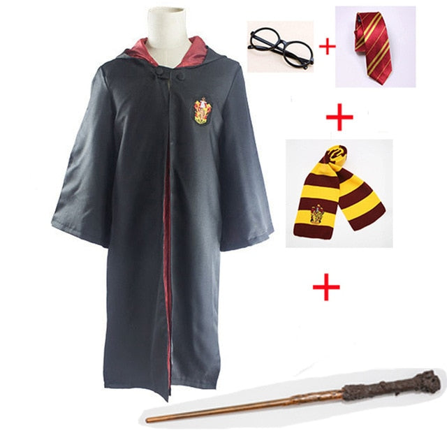 Cosplay Costumes Harry Potter Robe Cape With Tie Scarf Wand Glasses