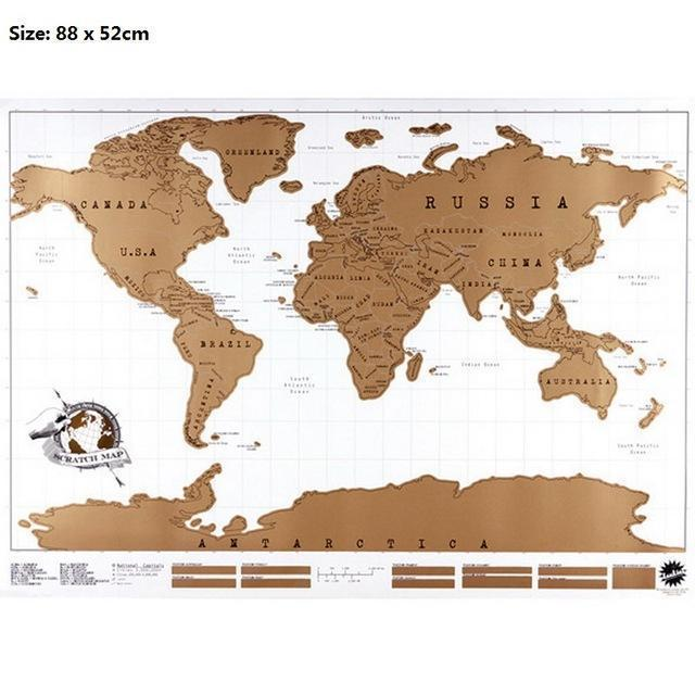 World Map Travel Scratching-Off Map Wall Stickers - gopowear.com
