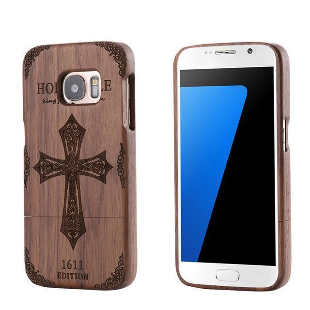 CROSS WOLF Bamboo Wood Carving Case for Samsung